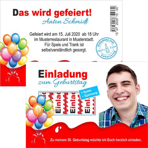 Einladungskarten Geburtstag lustig Geburtstagskarten Kinder Riegel mit Druck