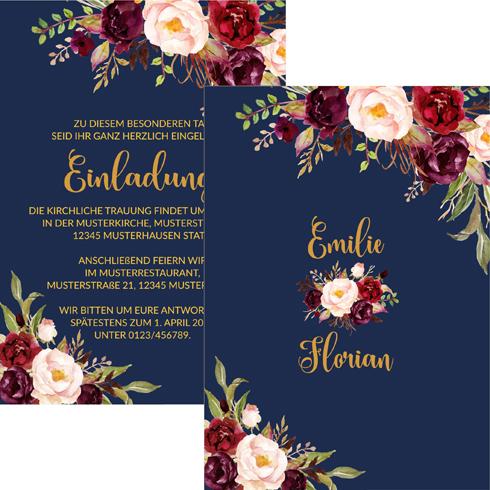 Einladungskarten Hochzeit Hochzeitskarten Vintage Rosa Blau Mit